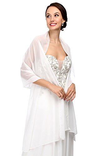 MicBridal® Chiffon Bolero Braut Jacke/Stola/Cape für Brautkleid Hochzeit in verschiedenen Farben (200*60cm, Elfenbein)
