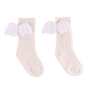 LAIYYI Baby Mädchen Kniestrümpfe Kleinkind Anti-rutsch Winter Herbst Socken, 3D Engelsflügel Nette Candy Farbe über Knie Baumwolle Weiche Socken Für 0-4 Jahre Alt