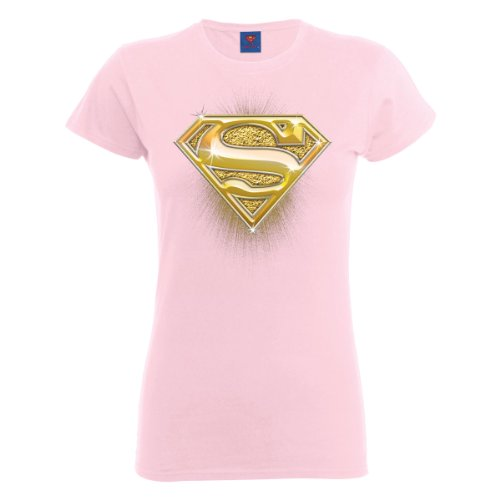 DC Universe Damen T-Shirt Dc Comics Official Superman Bling Logo Womens T-shirt Rosa - Hellpink