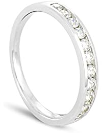 Luxveritasgemma - BADM01003 - Alliance Femme - Demi Tour - Or blanc 375/1000 2 gr - Diamant 0.3 cts