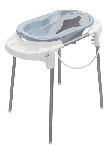 Rotho Babydesign Badeset mit Wanne und höhenverstellbarem Funktionsständer, 0-12 Monate, Babypleu pearl (Hellblau), TOP Badestation, 21042000101