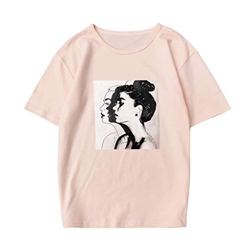 ode Drucken Beiläufig O-Ausschnitt Kurzarm Bluse Lose Oben T-Shirt Plus Größe ()