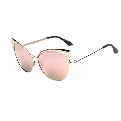 OverDose Katzenauge Metall Rand Rahmen Damen Frau Mode Sonnenbrille Verspiegelt Linse Damen Sunglasses Spiegel Sonnenbrille Cat Eye Brillenmode (B)