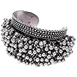 Abhaah Oxidised German Silver ghungroo Cuff Bracelet Traditional kada Bangle for Women (1 pc) Tribal Jewelry, Oxidized…