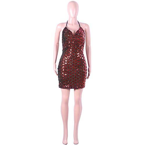 AIFGR Kleid Ärmelloses Cocktail-Nachtclub-Bar der Damenmode-Trend rotes hängendes Halskleid(Rot,L)