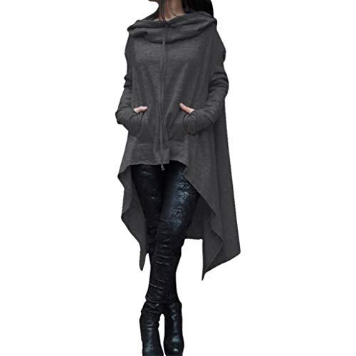 Morchan Femmes Automne Hiver Solide Hoodie Sweatshirt Cardigan Mode Manteau Blouson Loose Tunique Long à Capuche Tops Pull Casual Gilet Coton Shirt Blouse Grande Taille️ (FR-44 / CN-M,Gris foncé)