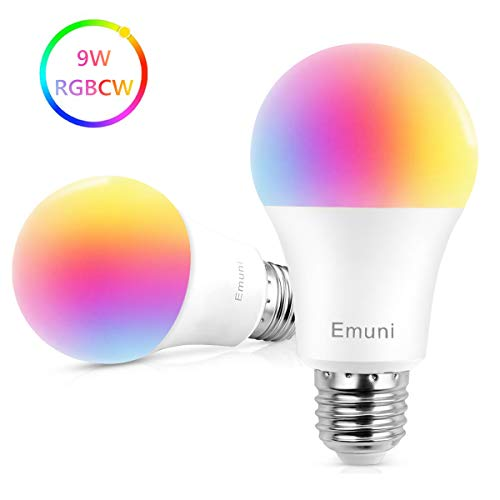 Emuni Bombilla LED Inteligente E27 9W , Bombilla WiFi Luz Cálida / Frías & RGB,Smart Lámpara WiFi Funciona con Alexa (Echo, Echo Dot) Google Home IFTTT, 16 Millones de Colores 850 Lúmenes