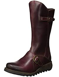 4ce3b275fd10 Fly London Womens Mes 2 Purple Leather Mid Calf Flat Boots