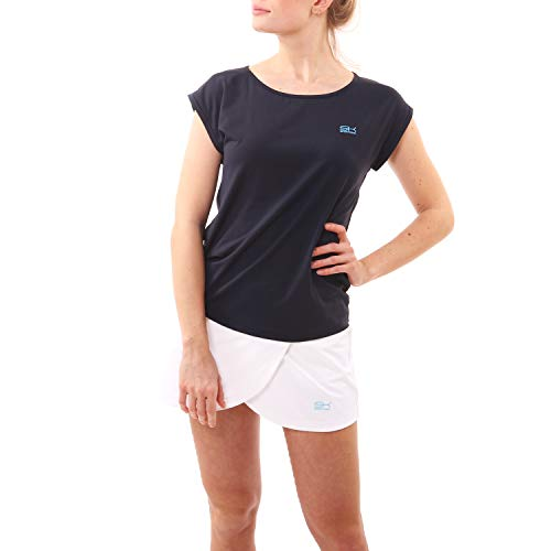 Sportkind Mädchen & Damen Tennis, Fitness, Sport Loose Fit T-Shirt, Navy blau, Gr. M