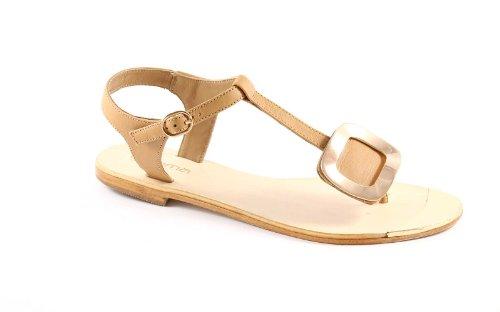 GEMMA 286 beige sandali donna infradito pelle cuoio 40