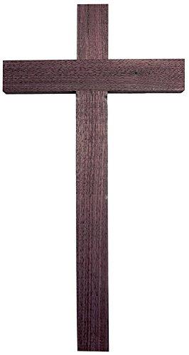 Kaltner Präsente Geschenkidee - Wandkreuz Echt Nussbaum Holz Kreuz Kruzifix für die Wand 50 cm klassisch