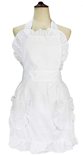 lilments Damen Rüsche Outline Retro Schürze Küche Kuchen Backen Kochen Cleaning Maid Kostüm Mit Taschen weiß -