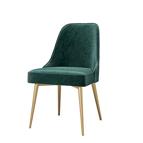 Esszimmerstühle YXX Moderner grüner Samt-Sitz, der seitlichen Stuhl für quadratische Tische, Wohnzimmer-Metalllounge-Rücken-Stuhl speist (Farbe : Gold, größe : Set of 6)
