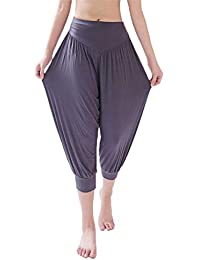 Pantalones de Yoga Pilates Pijamas Modal,Moda Primavera Verano Mujer Pantalones de Pierna Ancha Color sólido Estiramiento Yoga Bloomers Gimnasio para Mujer Suelta Pantalones Casuales