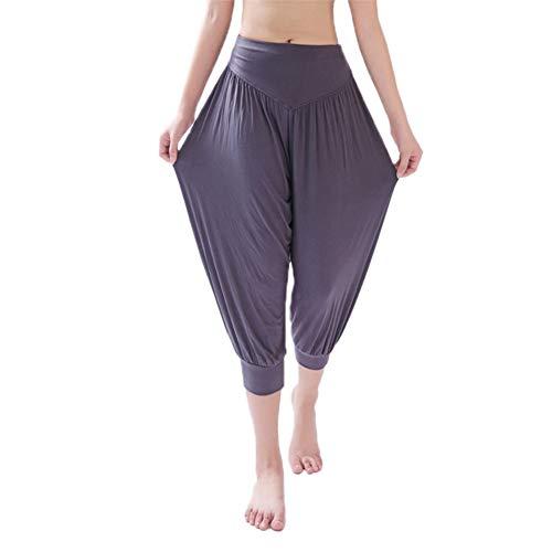 Damen Sporthose Yogahose Fitnesshose für Damen, Modal Hosen 7 Punkte Yogahosen Hose mit weitem Bein - Reverse-plissee Hose