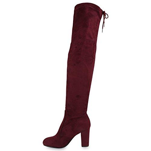 Stiefelparadies Damen Stiefel Overknees Wildleder-Optik Blockabsatz Schuhe Langschaftstiefel Boots Schleifen Flandell Dunkelrot