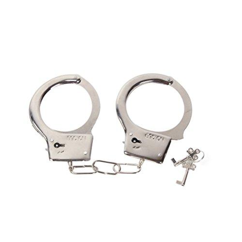 en Spielzeug Metall Handschellen mit Schlüssel für Polizei Rollenspiel Kostüm Zubehör Metall Handschellen (Halloween Handschellen)