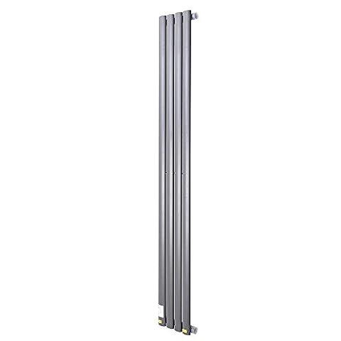 ReaseJoy Vertical Column Designer Radiator 1600x236mm 4 Grey Oval Single Flate Panel Heater Bathroom Central Heating
