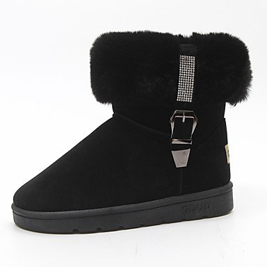 RTRY Scarpe donna pu Fall Winter Snow Boots stivali tacco piatto Round Toe stivali Mid-Calf Lace-Up per Casual marrone chiaro Nero Grigio US5.5 / EU36 / UK3.5 / CN35