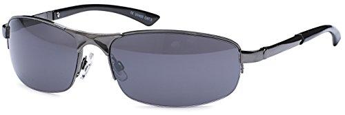 sportlich Elegante Sonnenbrille mit Federbügeln für schmalere - normalbreite Köpfe + Brillenbeutel anthrazit