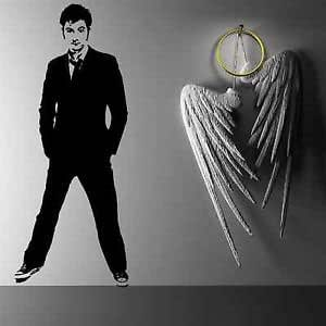 Iconic Stickers - The Doctor Who Timelord David Tennant DW Cool Wall Sticker Art Design Mural C20 - Mirror Image - Size: Medium - Colour: White