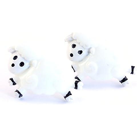 TFB–Funky Bianco lana Cartoon Jumping Sheep orecchini–Kitsch divertente Cute Farm animali