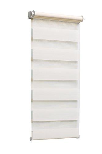 TEXMAXX - Fensterrollo - Duo-Rollo Doppelrollo Sonnenschutz Sichtschutz mit Kettenzug - 105 x 150 cm (Stoffbreite 101 cm) - Klemmfixrollo ohne Bohren inkl. Zubehör - in Creme - Beige