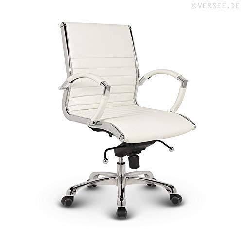 tuhl Montreal -- Echt-Leder -- weiß -- Konferenzstuhl, Meetingstuhl, Drehstuhl, Bürodrehstuhl, Schreibtischstuhl, Ergonomisch, niedrige Rückenlehne, mit Armlehnen, auf Rollen, mit Polsterung, Höhenverstellbar, Wippfunktion, Designklassiker, hochwertige Verarbeitung, massives Metall-gestell, Chrom Büro Sessel, Stuhl, 150 kg belastbarkeit ()