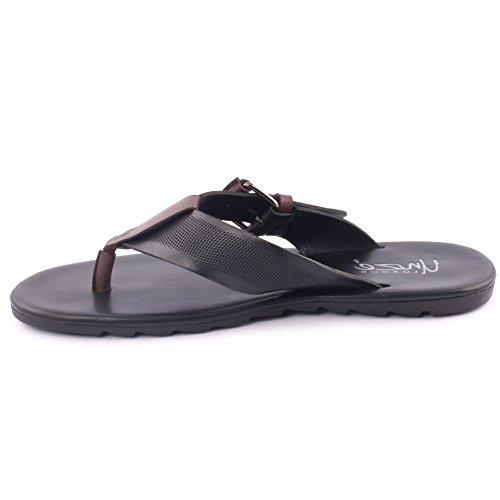 Unzè Unze Uomo Pelle 'Salomone' Flip Flop Slip On Aperte Davanti Thong Beach Summer Festival Piatto Pantofole UK Size 7-11 Nero