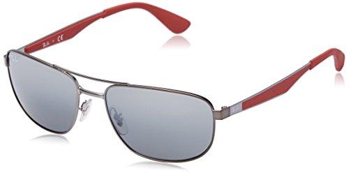 Ray-Ban Unisex RB3528 Sonnenbrille, Gestell: Gunmetal, Gläser: Grau Verlauf Verspiegelt 029/88), Large (Herstellergröße: 58)