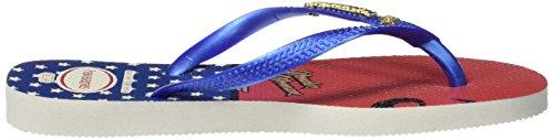 Havaianas SLIM HEROINAS, Tongs femme Multicolore (WHITE/MARINE BLUE 2833)