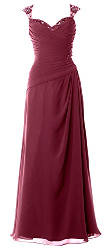 MACloth Women Cap Sleeves Long Mother of Bride Dress Open Back Party Formal Gown Wine Red