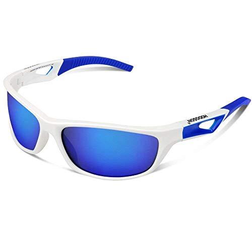 Polarisierte Sportbrille Sonnenbrille Fahrradbrille mit UV400 Schutz für Damen und Herren Autofahren Laufen Radfahren Angeln Golf TR90 (White/Blue)