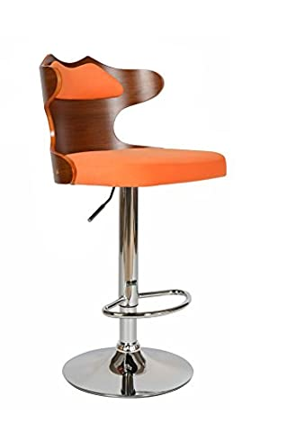 ts-ideen 12008 Bar Stool Lounge Club Retro Style with 360° revolving chrome footrest orange leatherette with seat back chair ergonomic comfortable walnut veneered