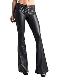 5f85cc7b23 Pantalones Cuero Negro para Mujer Sexy Push up Skinny Invierno Otoño  PAOLIAN Pantalones Leggings Elástica Piel Sintéticos con Cordóne…