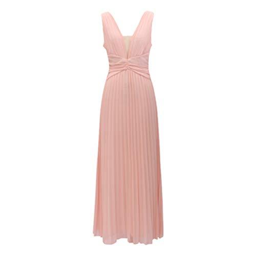 Damen Sommerkleid,Weant Kleider Maxikleid Strandkleid Damen Elegante Abendkleid Partykleid Übergröße Kleid mit O-Ausschnitt Applikationen Reißverschluss Perspektive ärmelloses Netzkleid