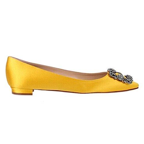 EKS Damen Spitze Diamonds Decoration Low Heel Fashion Flats Gelb