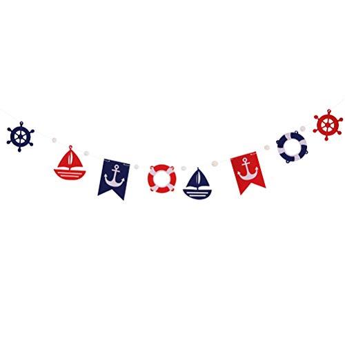 Shiff Rettungsring Form Girlande Nautische Maritime Deko Hängendeko für Geburtstag Hochzeit Party (Blau und Rot) ()