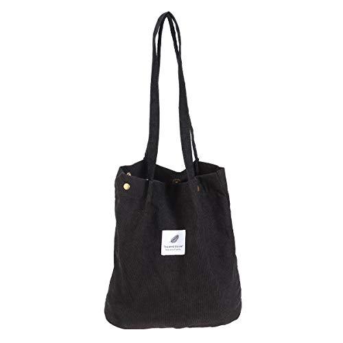 BESTOYARD College Style Umhängetasche Cord Fastener Verschluss Leinwand große Kapazität Handtasche für Frauen Mädchen (schwarz) -