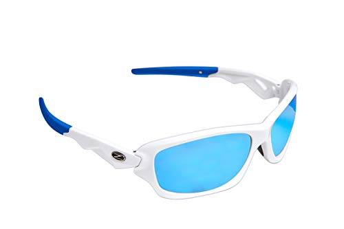 Rayzor Professionelle Leichte UV400 Weiß Sports Wrap Segelsport Sonnenbrille, mit einem blauen Iridium Mirrored Blend Lens.