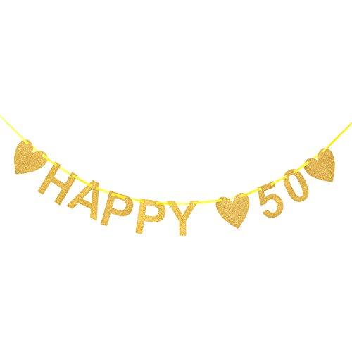 Oblique Unique Happy 50 Girlande Gold Glitzernd