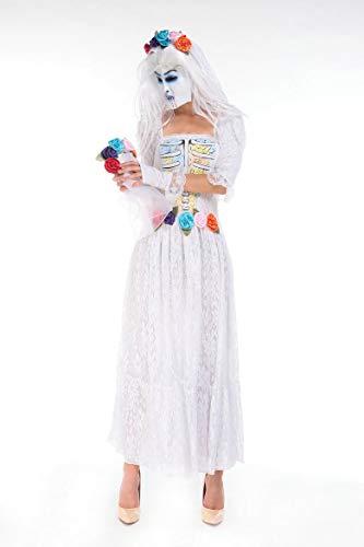 Halloween Kostüm,Halloween Geist Weiß Kleid Braut Zombie Service Untoten Geist Hexe Cosplay Kostüm, 89118-A, U