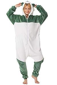 corimori- Kigurumi Pijamas (10+ Modelos) Lee el Panda Disfraz Adultos Invierno, Color blanco, gris, verde, Talla 180-190 cm (1852)