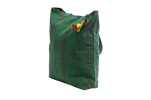 Manbefair Commercio Equo E Solidale Xl Shopper In Cotone Modena Tracolla Tracolla 43x45 Cm (lxh) Verde
