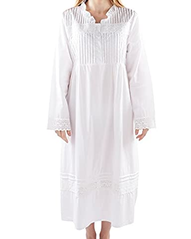 VNTW-008;5X Victorian Style V neck Long Sleeve Nightdress with Lace