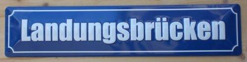 Strassenschild Landungsbrücken St. Pauli Hamburg aus Stahlblech - gewölbt und geprägt - 46x10 cm