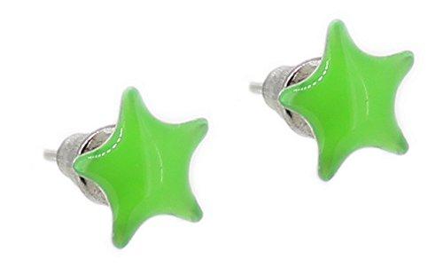 budawi® - Ohrstecker neon-grüner Stern Ø 10 mm, Ohrschmuck, Ohrringe in grün