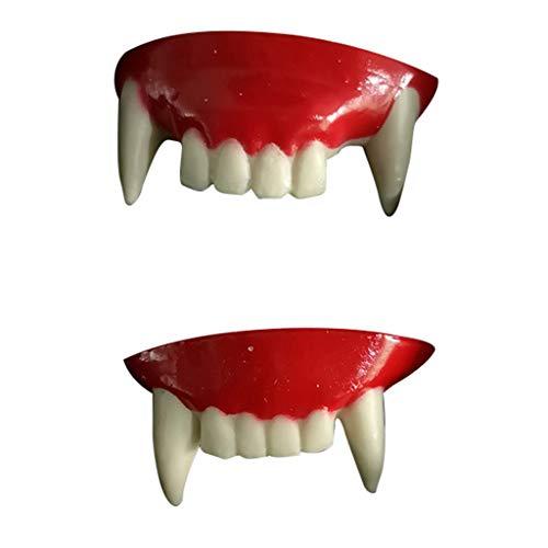 Lazzboy Halloween Gebiss Vampir Zähne Zombie Vorderzähne Kunststoff Weiche Zahnspangen Dracula Monster Werwolf - Rosa Kleinkind Monster Kostüm