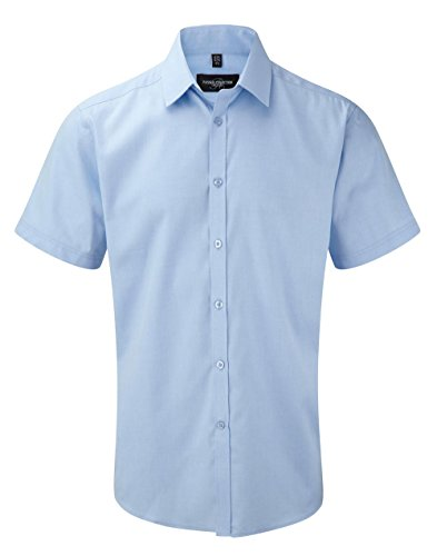 Russell Collection Short sleeve herringbone shirt Light Blue