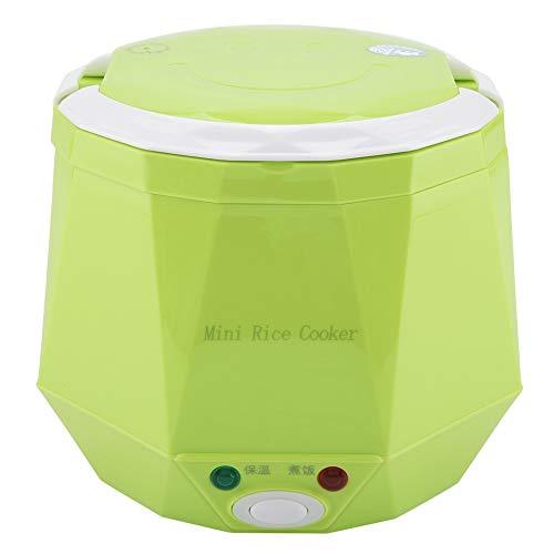 Vaporizador de alimentos multifuncional para dos coches, dos tazas de arroz, vaporizador 12V 100W 1.3L, hervidor de arroz portátil(Green)